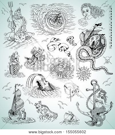 Design graphic set with sea mythologycal creatures, ships, mermaid and marine symbols for map, logo. Engraved illustrations. Pirate adventures, treasure hunt and old transportation concept
