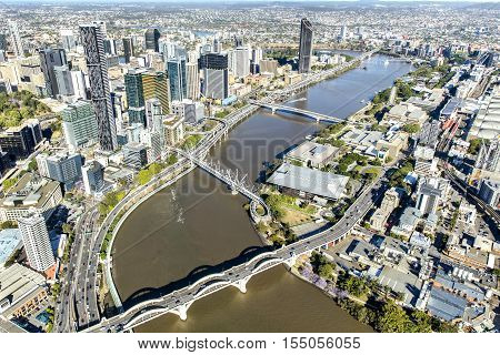 BRISBANE, AUSTRALIA - OCTOBER 18 2016: Brisbane CBD cityscape and South Bank with adjoining bridges over the river, view from above.