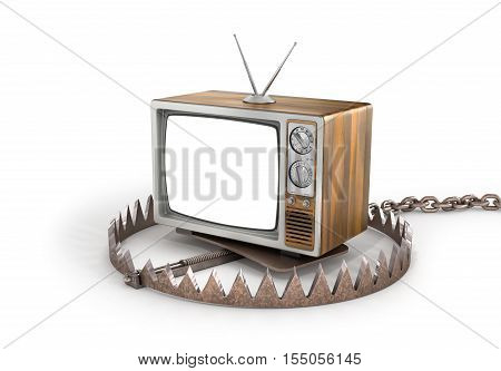 Concept of TV dependence. TV in the trap. TV as trap for crowd. 3d illustration