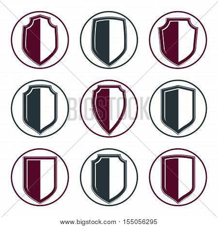 Set of detailed vector coat of arms decorative defense shields collection. Heraldic symbols for use in graphic design.