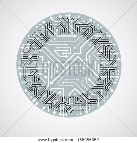 Vector Circuit Board Circle, Digital Technologies Abstraction. Black And White Computer Microprocess