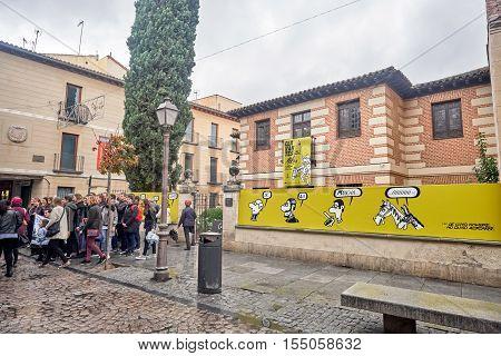 ALCALA DE HENARES, MADRID, SPAIN. November 5, 2016. view of the birthplace of Don Miguel de Cervantes Saavedra in the rain