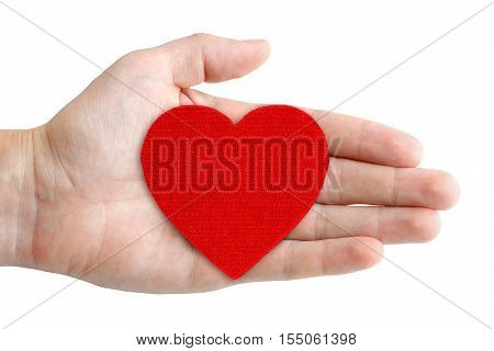 Red heart symbol in hand isolated on white background