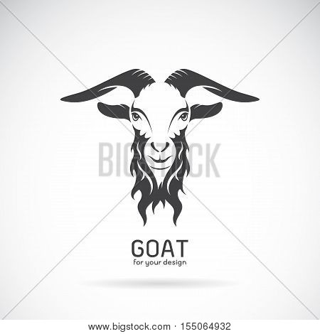 Vector image of a goat head design on white background Vector goat logo. Wild Animals.
