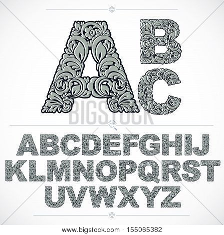 Floral font hand-drawn vector capital alphabet letters decorated with botanical pattern. Black and white ornamental typescript vintage design lettering.