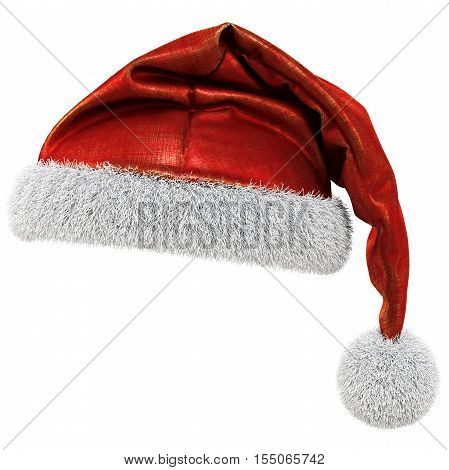 Santa Claus red hat isolated on white background. 3D illustration.