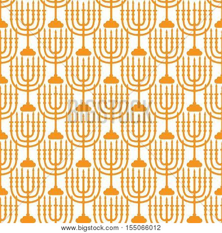 Hanukkah seamless pattern. Hanukkah background with Menorah. Happy Hanukkah Festival of Lights Feast of Dedication seamless texture. Hanukkah seamless background. Vector illustration
