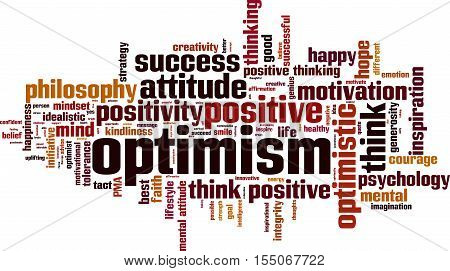 Optimism word cloud concept. Vector illustration on white