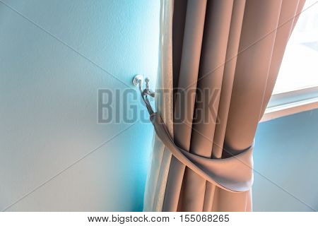 Close up window curtain in room - Stock Photo