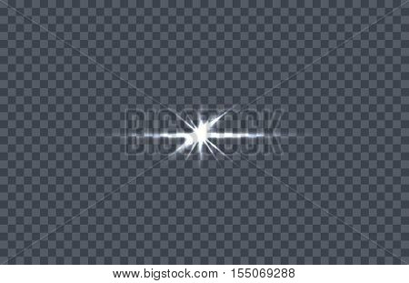 White glowing light burst. Vector illustration on transparent background. Design element with light effect. Horizontal flash light. For space science concepts, night sky, magic light illustrating