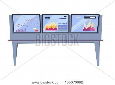 Monitoring stock exchange indexes vector. Flat style design. Online training instruments concept. Financial indexes in real time illustration. Broker workspase with exchange rates and graphs.