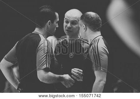 VALENCIA, SPAIN - NOVEMBER 2nd: Referees during Eurocup match between Valencia Basket and Union Olimpija Ljubljana at Fonteta Stadium on November 2, 2016 in Valencia, Spain