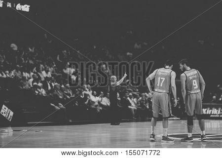 VALENCIA, SPAIN - NOVEMBER 2nd: 17 Martinez and 9 Van Rossom during Eurocup match between Valencia Basket and Union Olimpija Ljubljana at Fonteta Stadium on November 2, 2016 in Valencia, Spain