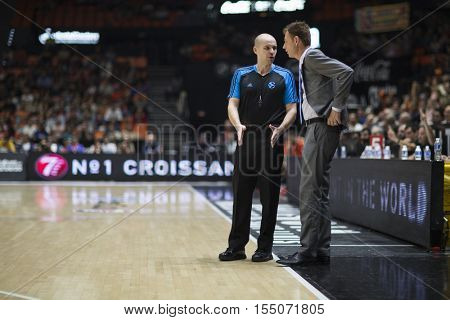 VALENCIA, SPAIN - NOVEMBER 2nd: Referee and Gasper Okorn during Eurocup match between Valencia Basket and Union Olimpija Ljubljana at Fonteta Stadium on November 2, 2016 in Valencia, Spain