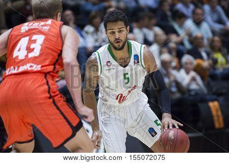 VALENCIA, SPAIN - NOVEMBER 2nd: Oliver with ball during Eurocup match between Valencia Basket and Union Olimpija Ljubljana at Fonteta Stadium on November 2, 2016 in Valencia, Spain