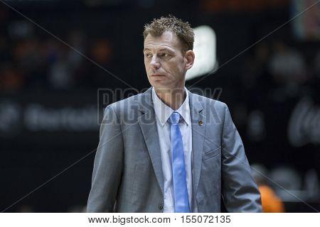 VALENCIA, SPAIN - NOVEMBER 2nd: Olimpija coach Gasper Okorn during Eurocup match between Valencia Basket and Union Olimpija Ljubljana at Fonteta Stadium on November 2, 2016 in Valencia, Spain