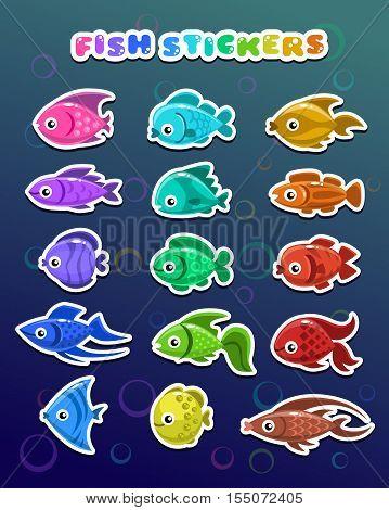 Funny colorful fish stickers, aquarium flat icons set.