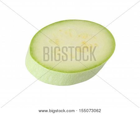 cut light green zucchini isolated on white background with clipping path