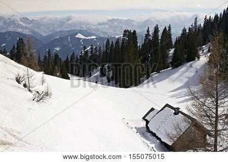 Relax Winter view of Alps near Rosstratten Austria