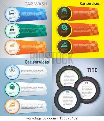 Set Car service business presentation template on steel background. Vector illustration EPS 10 for info-graphics number options web site page layout firm automobile repair