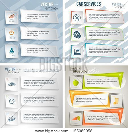 Set background Modern Design infographic style template with numbered 3d effect triangle. Vector illustration EPS 10 for new product newsletters web banners pages presentation