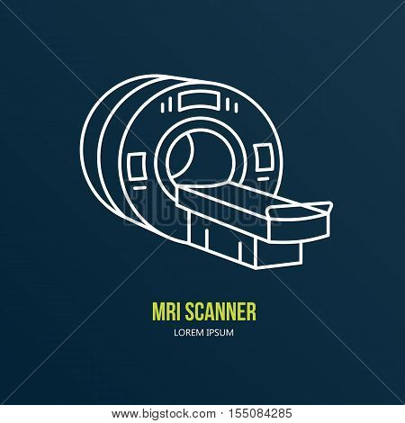 Vector thin line icon of mri machine. Hospital clinic linear logo. Outline mri scanner symbol for medical center. Magnetic resonance tomography pictogram. Design element, medical business mri logotype