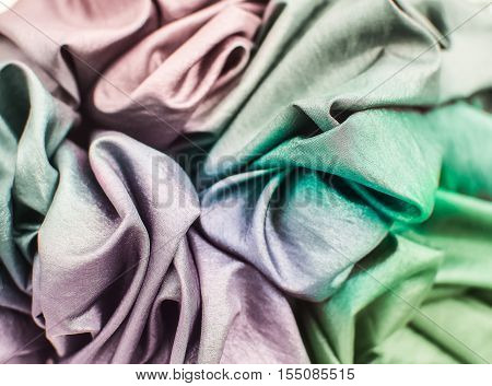 Colorful of fabric texture, Selective Focus , Used for Idea and Concept Image