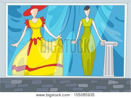 Hand drawn cartoon of clothes shop. Colourful cartoon background of clothing shop. Background of clothing shop with mannequins. Cartoon of boutique window. Background of showcase of clothing shop.