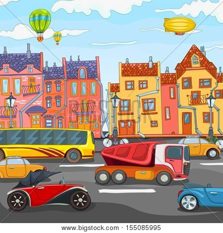 Hand drawn cartoon of street in the city center. Colourful cartoon of urban landscape. Cartoon background of urban architecture with road. Cartoon of city background. Background of city traffic.