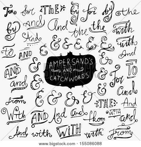 Hand-drawn ampersands and catchwords. Collection of hand drawn catchwords. Ampersands and catchwords for your design. Modern handwritten calligraphy and lettering vector set.