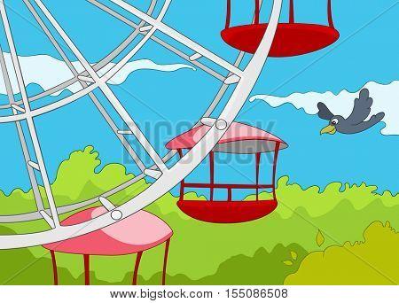 Hand drawn cartoon of amusement park. Colourful cartoon of amusement park. Cartoon background of amusement park at sunny summer day. Cartoon of ferris wheel on the background of sky in amusement park.