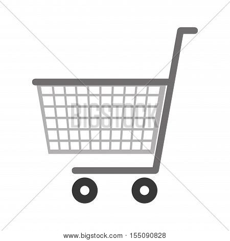 supermarket cart icon over white background. shooping trolley. vector illustration