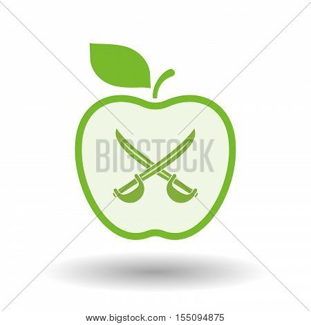 Isolated Healthy Apple Fruit With  Two Swords Crossed