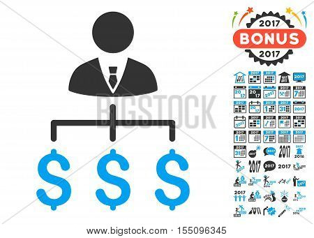 Boss Payments pictograph with bonus 2017 new year pictures. Vector illustration style is flat iconic symbols, modern colors.
