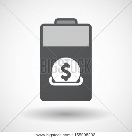 Isolated Battery Icon With  A Dollar Coin Entering In A Moneybox