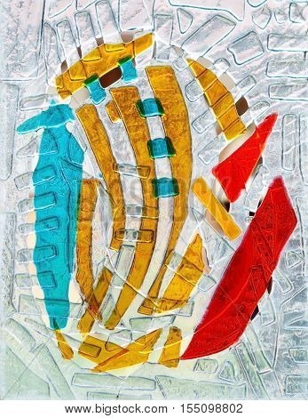 abstract composition of colored glass. Stained glass fusing