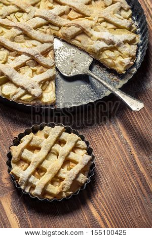 Apple Pie Baked In Small And Large Baking Tray