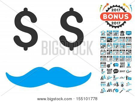 Millionaire Mustache pictograph with bonus 2017 new year pictograph collection. Vector illustration style is flat iconic symbols, modern colors.