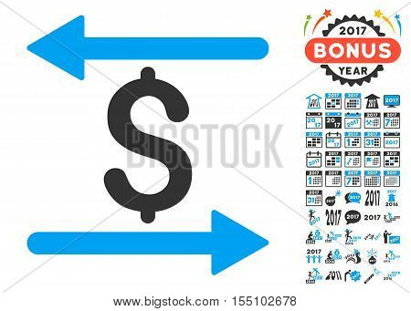 Money Transactions pictograph with bonus 2017 new year images. Vector illustration style is flat iconic symbols, modern colors.