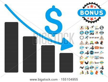 Recession pictograph with bonus 2017 new year symbols. Vector illustration style is flat iconic symbols, modern colors.