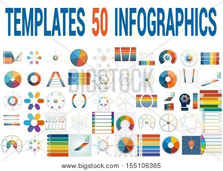 50 Vector Templates for Infographics pie chart ring chart area chart timeline list diagram with text areas for six positions.