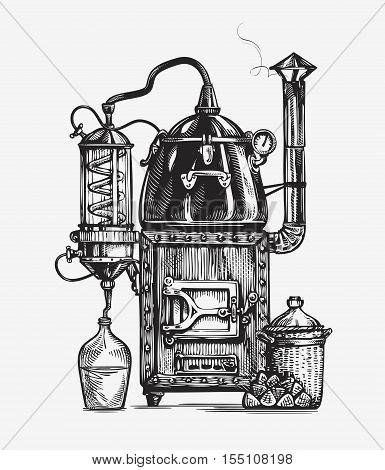 Distillation apparatus sketch. Retro hooch vector illustration