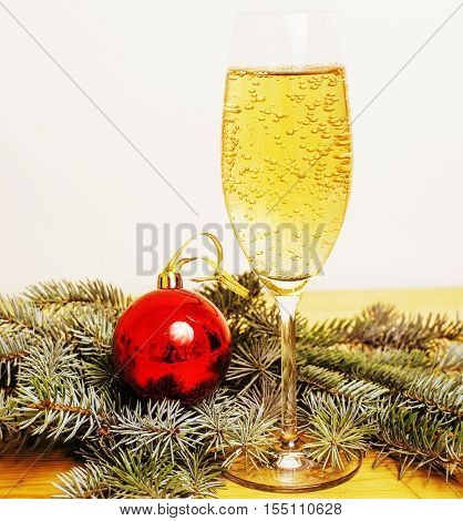 Christmas tree with toys on background copy space for text, pattern texture colored close up