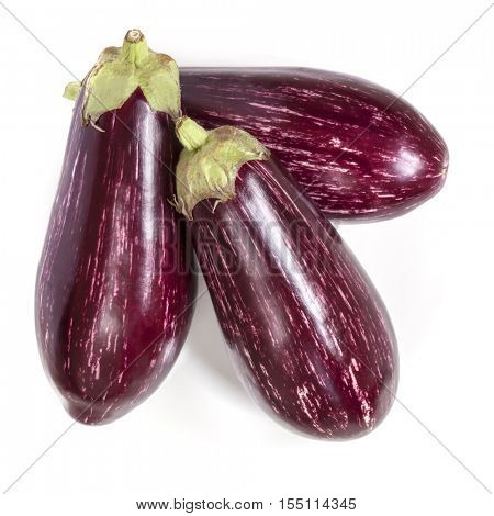 Graffiti eggplants isolated on white.  Top view.