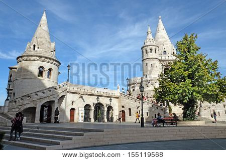BUDAPEST HUNGARY - SEPTEMBER 29 2016: Fisherman's Bastion Tower symbolizing the Hungarian tribes in the Buda castle