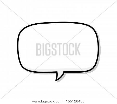 Blank Narration Bubble. A hand drawn vector illustration of a blank speech bubble with shadow backdrop.