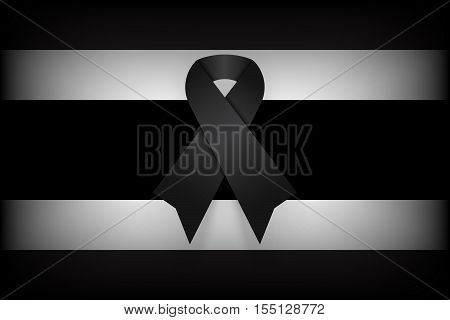 Black ribbon on Thailand flag . dim design . mourn for king of thailand pass away . rest in peace .