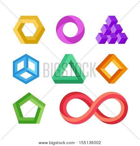 Impossible geometric shapes vector set. Abstract colored object element for logo illustration