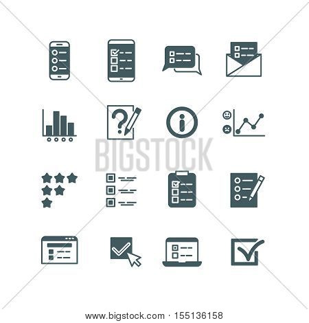 Quiz and test list, voting button, survey, questionnaire vector icons set. Checklist and voting, feedback and think illustration