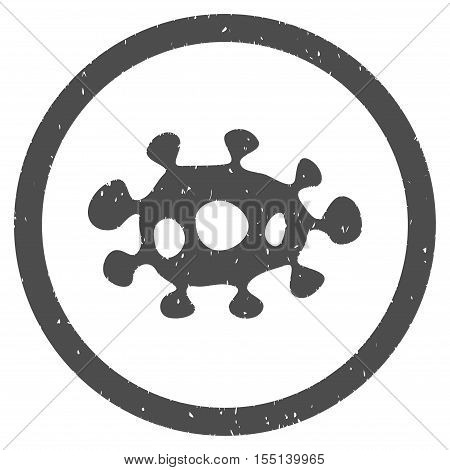 Virus rubber seal stamp watermark. Icon symbol inside circle frame with grunge design and dirty texture. Scratched vector ink sticker on a white background.